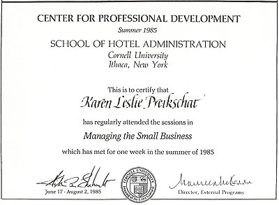 1985 - Cornell University - Managing the Small Business