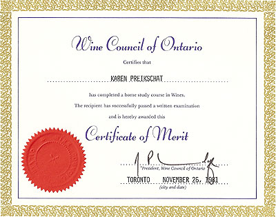 1981 - Wine Council of Ontario - Certificate of Merit